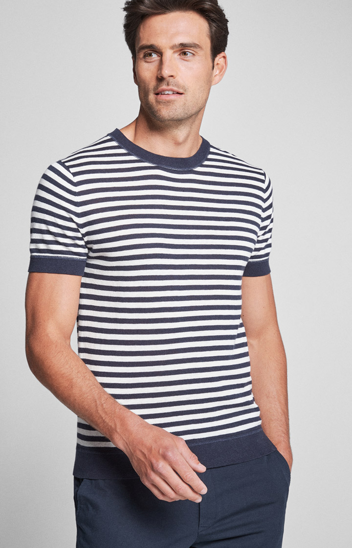T-Shirt Sorin in Navy-Weiß gestreift