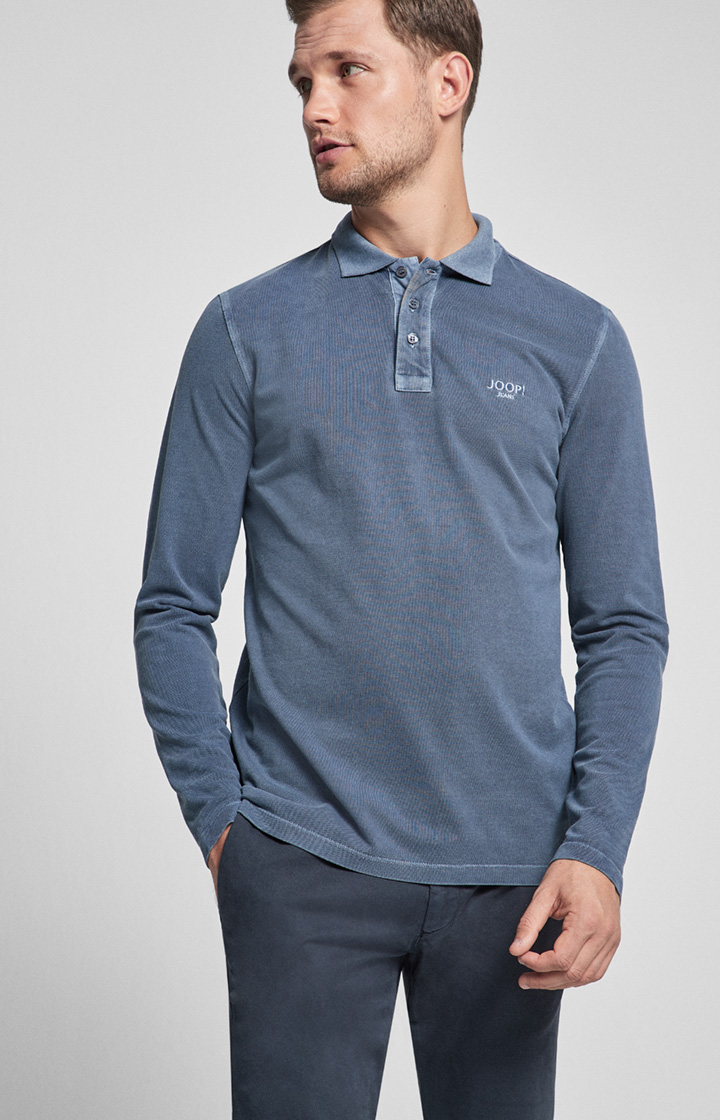 Langarm-Polo-Shirt Ambrosio in Denim-Blau