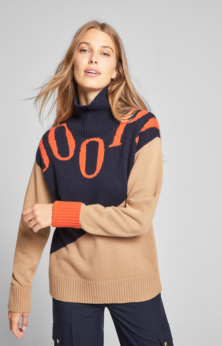 Pullover Kult in Beige/Blau/Orange