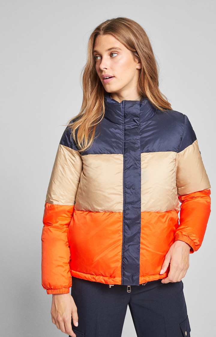 Daunenjacke Orianne in Blau/Beige/Orange