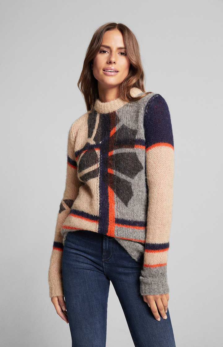 Pullover Kintar in Beige/Orange/Grau