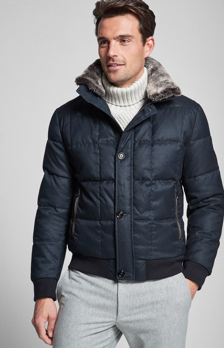 Daunen-Steppjacke Calvino in Navy
