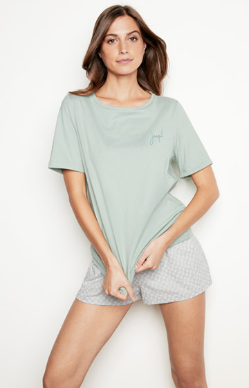 Loungewear T-Shirt in Jade-Grün