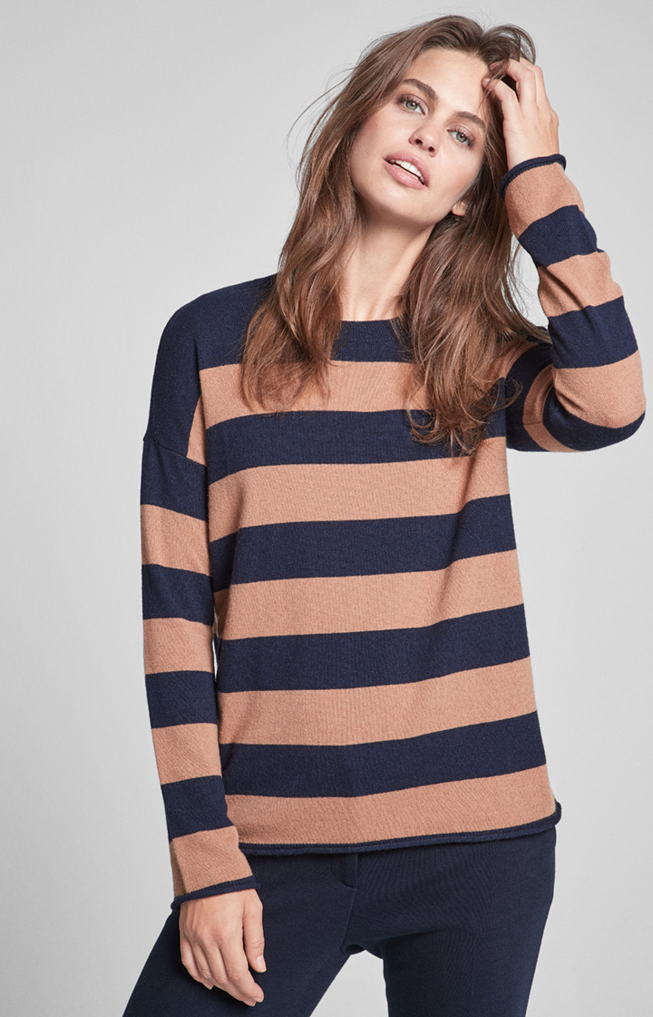 Pullover Kari in Navy/Camel gestreift