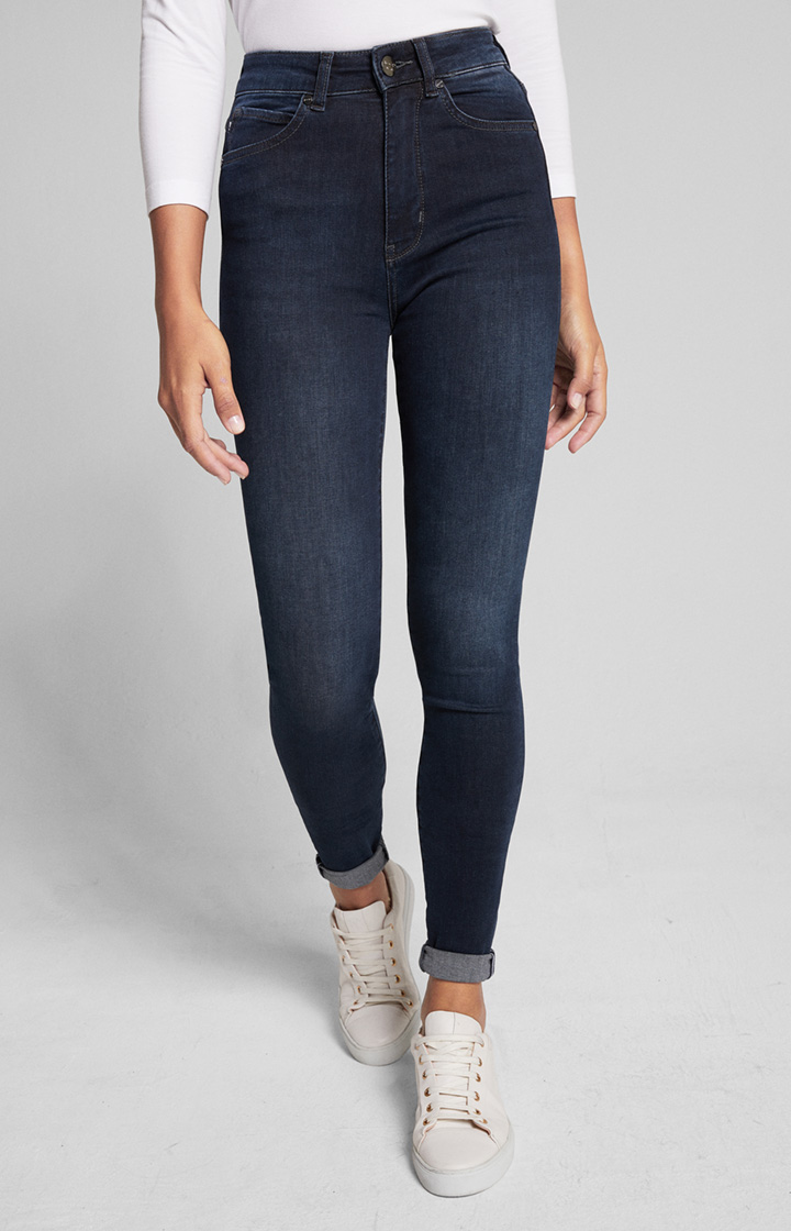 Skinny Fit Highwaist Jeans Skye in Denim Blau