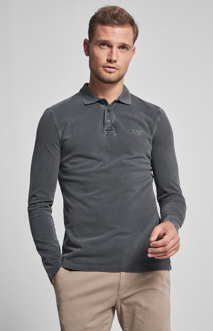 Langarm-Polo-Shirt Ambrosio in Schwarz