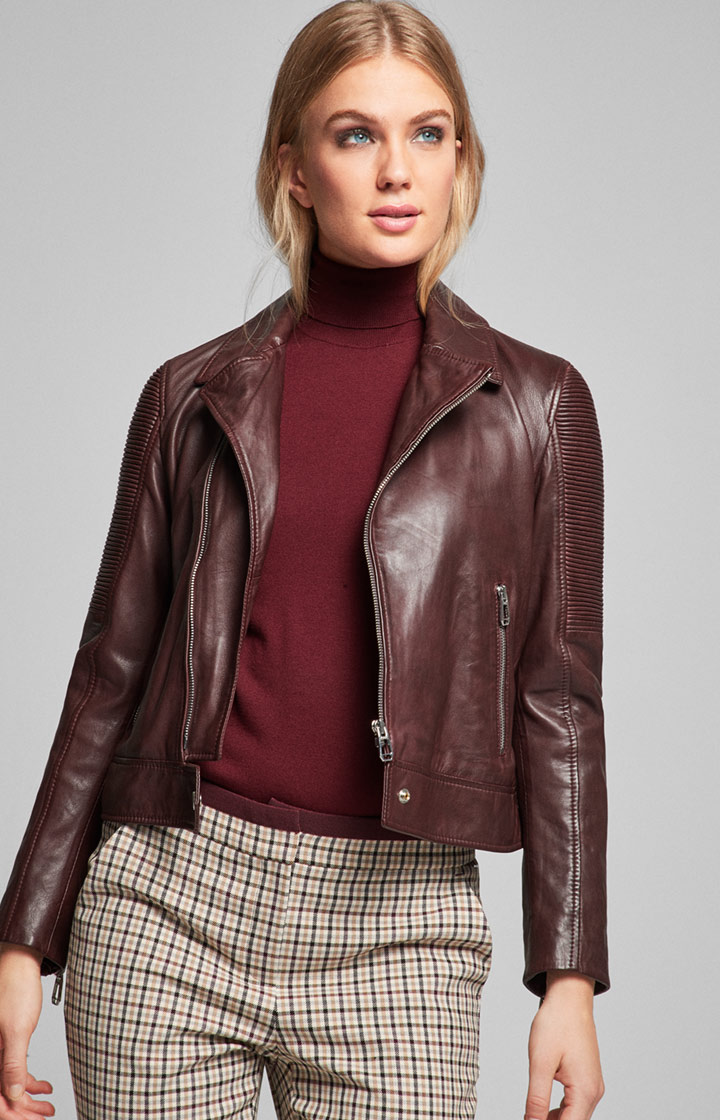 Biker-Lederjacke Lauren in Bordeaux