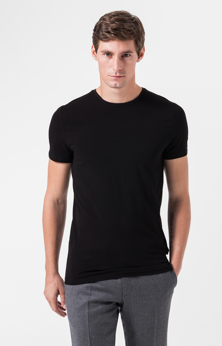 Rundhals-T-Shirt im Duo-Pack in Schwarz