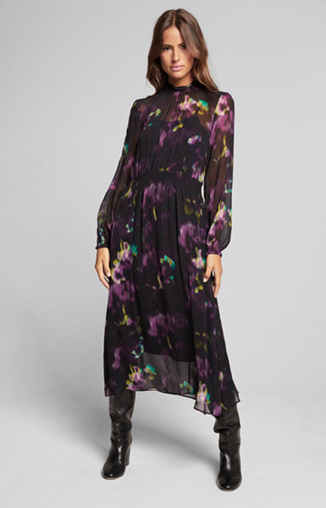 Kleid Dace mit Flower-Print in Schwarz-Purple