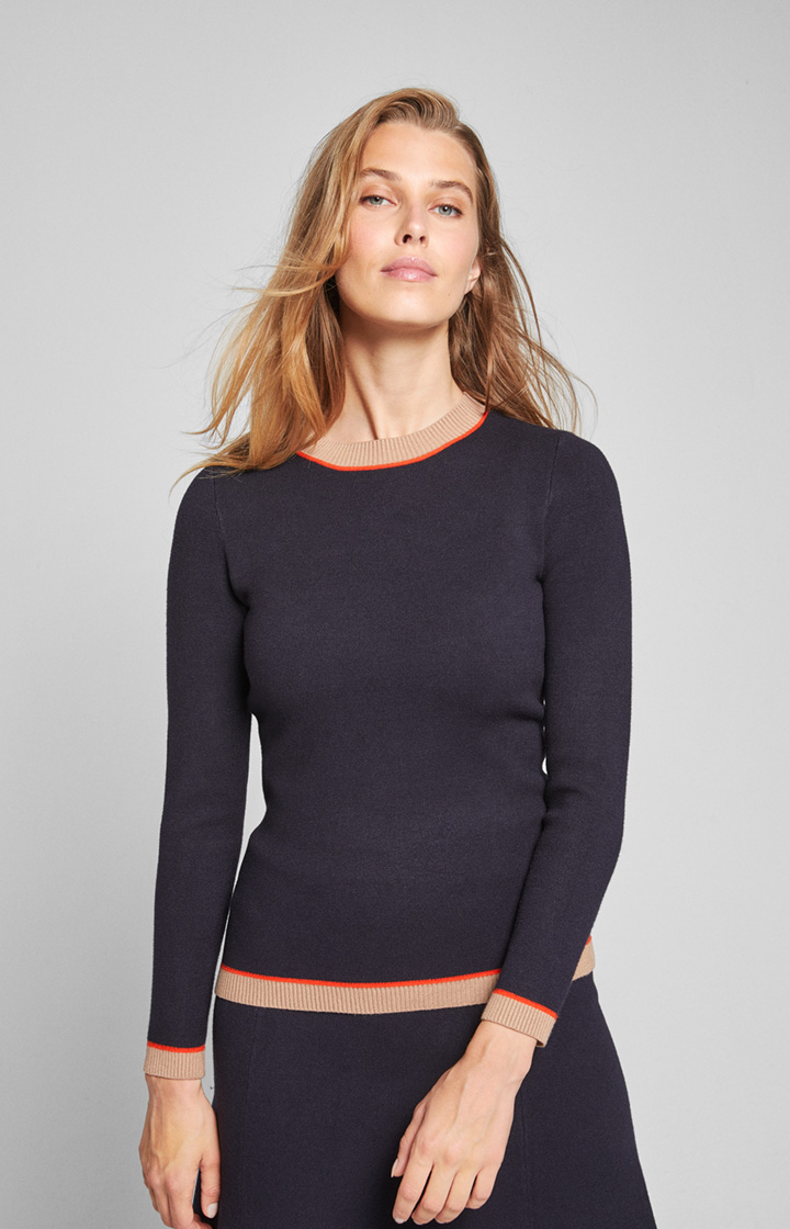Pullover Kiara in Navy/Beige/Orange