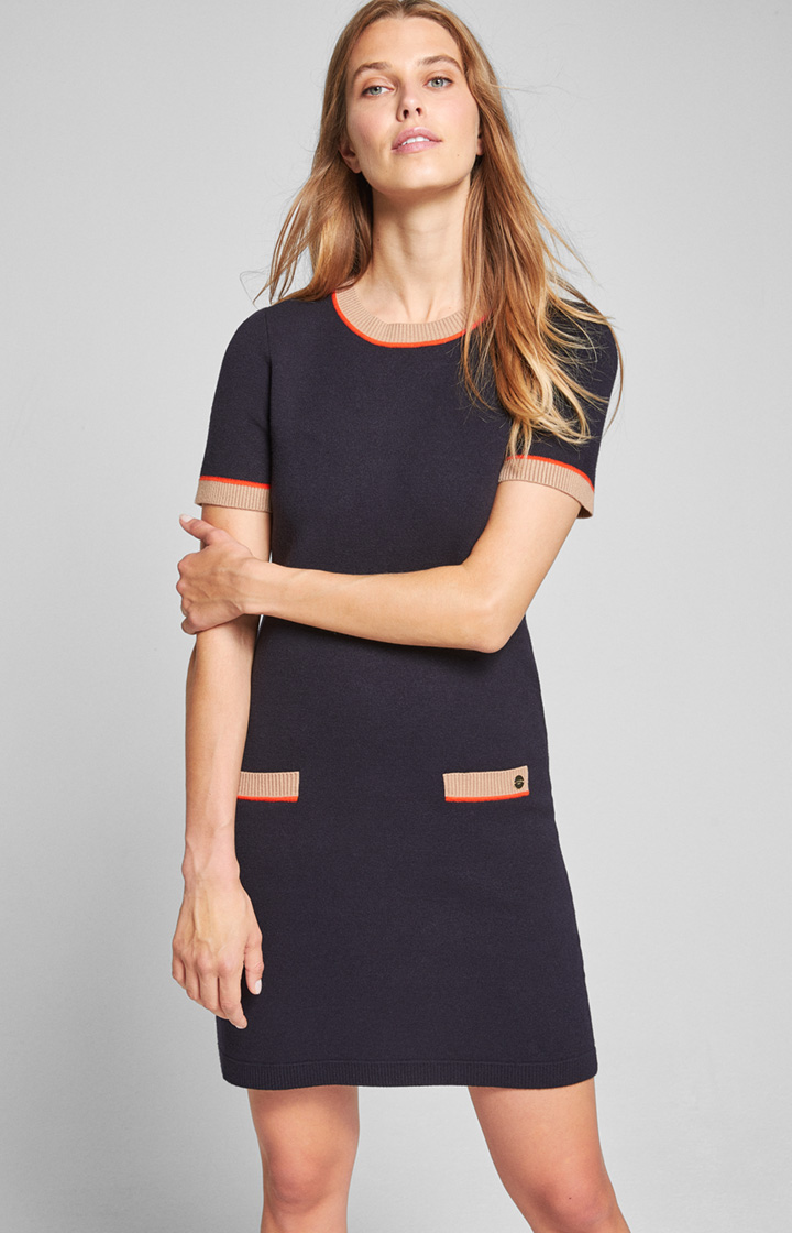 Kleid Kusat in Navy/Beige/Orange