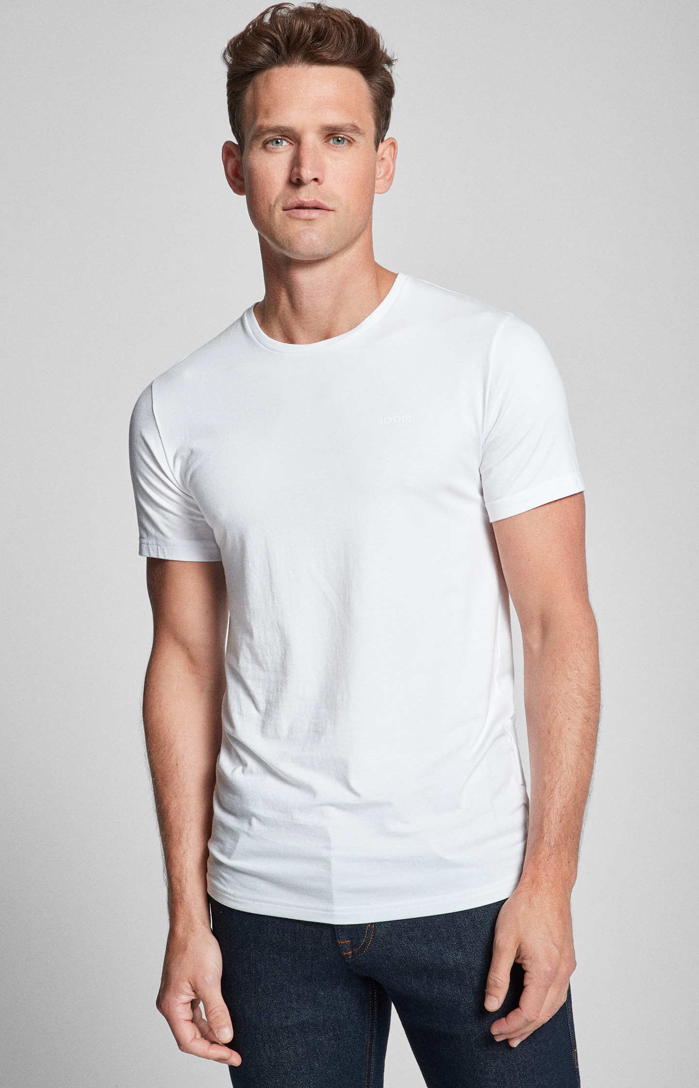 Artikel klicken und genauer betrachten! - Der softe Modal-Baumwoll-Blend mit leichtem Stretch-Anteil schmiegt sich angenehm an die Haut und macht die weißen T-Shirts im Doppelpack zum perfekten Basic unter Pullover, Hemd oder Sakko. Im Slim Fit geschnitten sorgen die Shirts mit klassischem Rundhalsausschnitt für eine sportive Silhouette. Einen hochwertigen Akzent setzt der tonige JOOP!-Print auf Brusthöhe.   im Online Shop kaufen