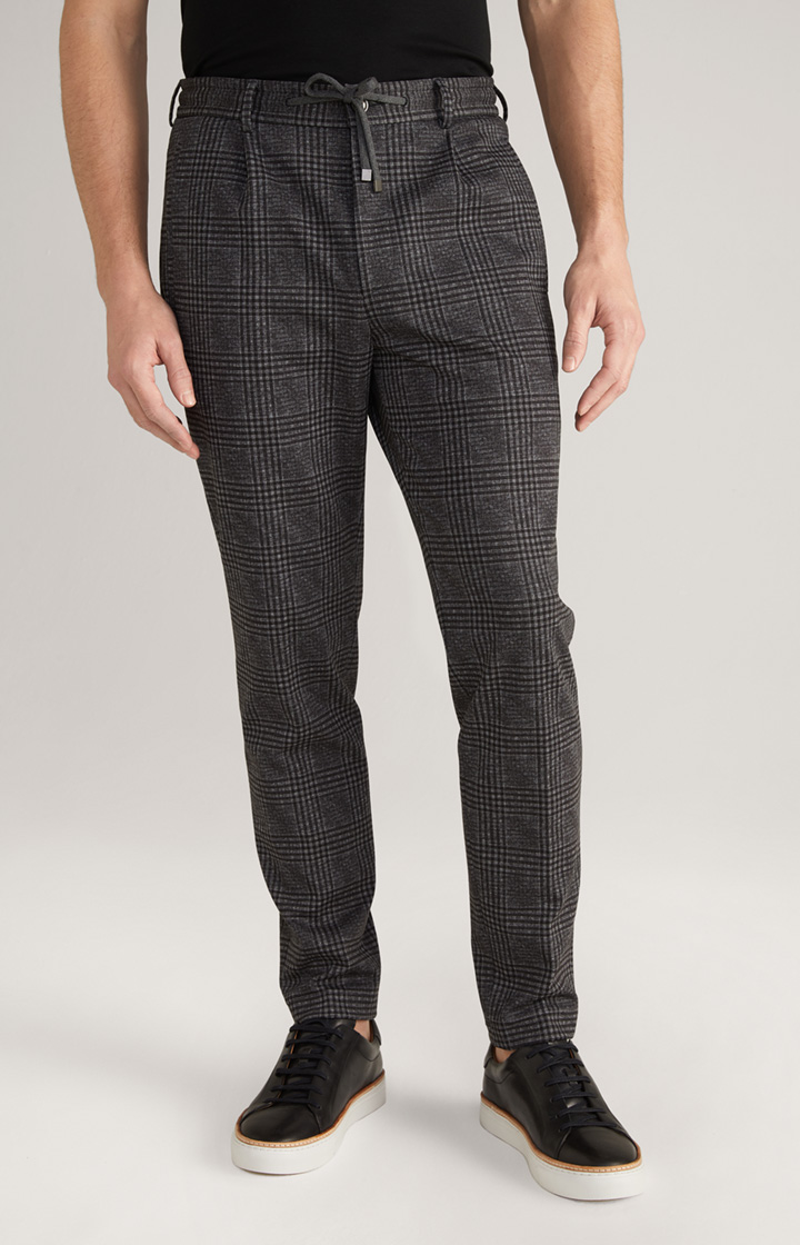 Glencheck-Joggpants Eames in Anthrazit/Braun