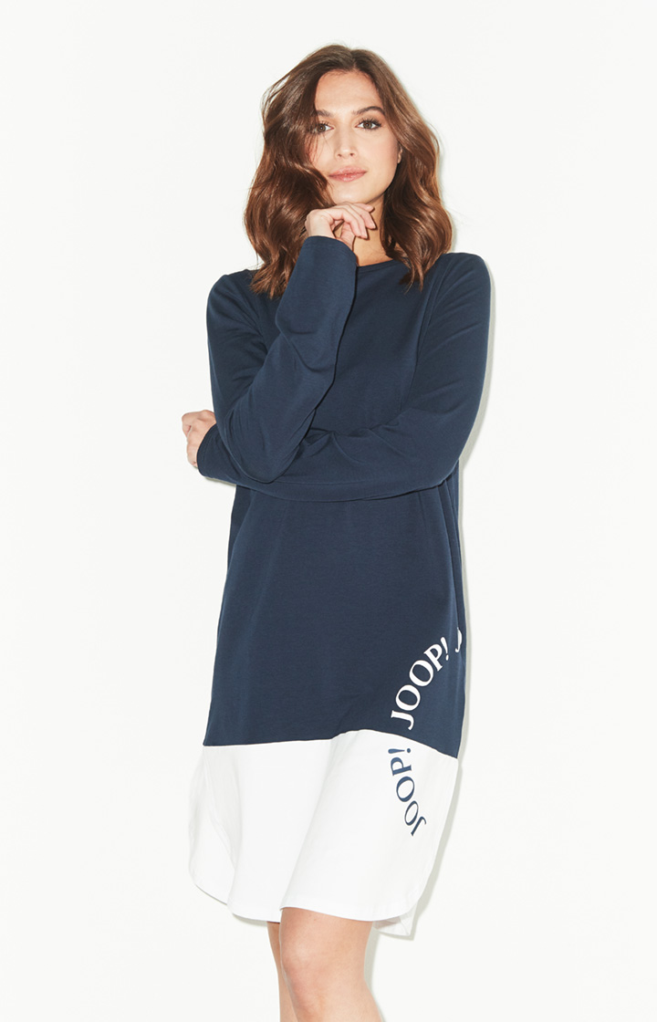 Loungewear-Longshirt Smart Chic in Navy/Weiß