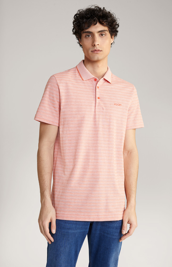 Jacquard-Poloshirt Pancras in Orange gestreift