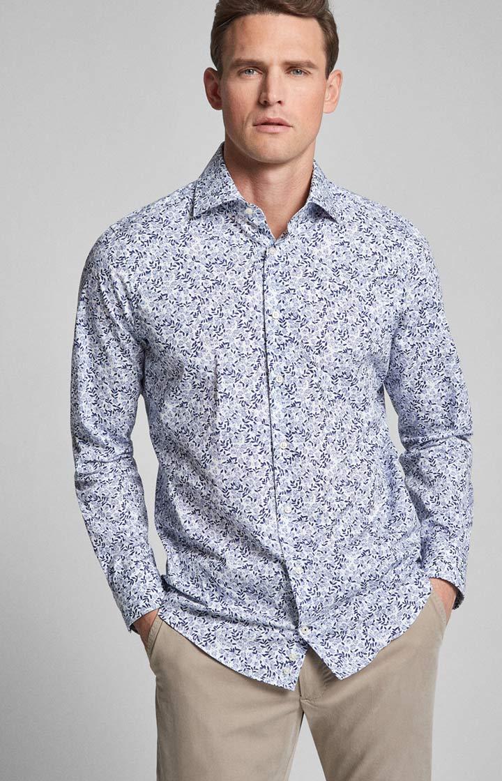 Ideal: Hemd Mika bügelleicht Navy/Weiß
