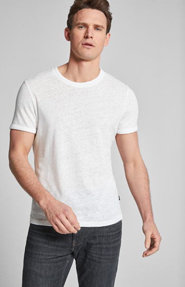 Leinen-Mix T-Shirt Linaro in Weiß
