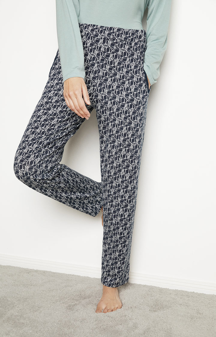 Loungewear Hose in Navy gemustert