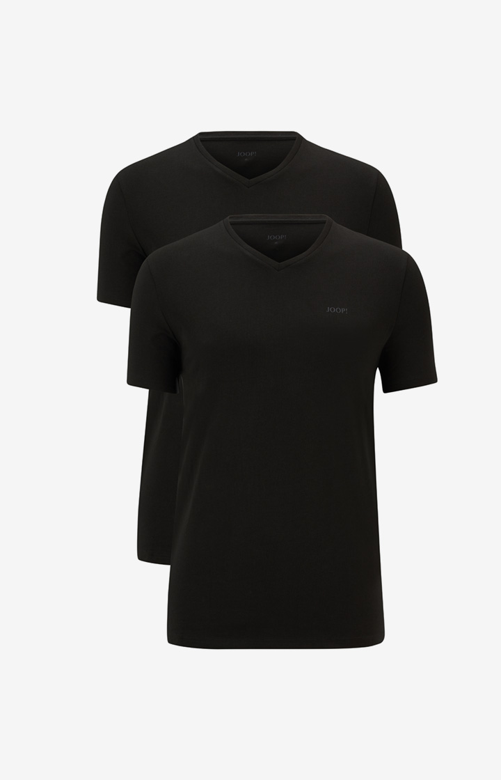 2er-Pack Cotton-Stretch T-Shirts in Schwarz