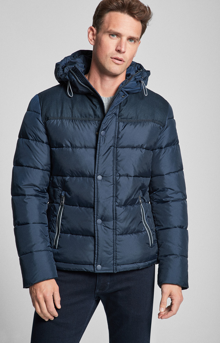 Daunen-Steppjacke Junior mit Kapuze in Dark Navy