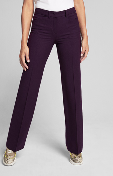Schurwoll-Stretch-Hose Marike in Dark Purple