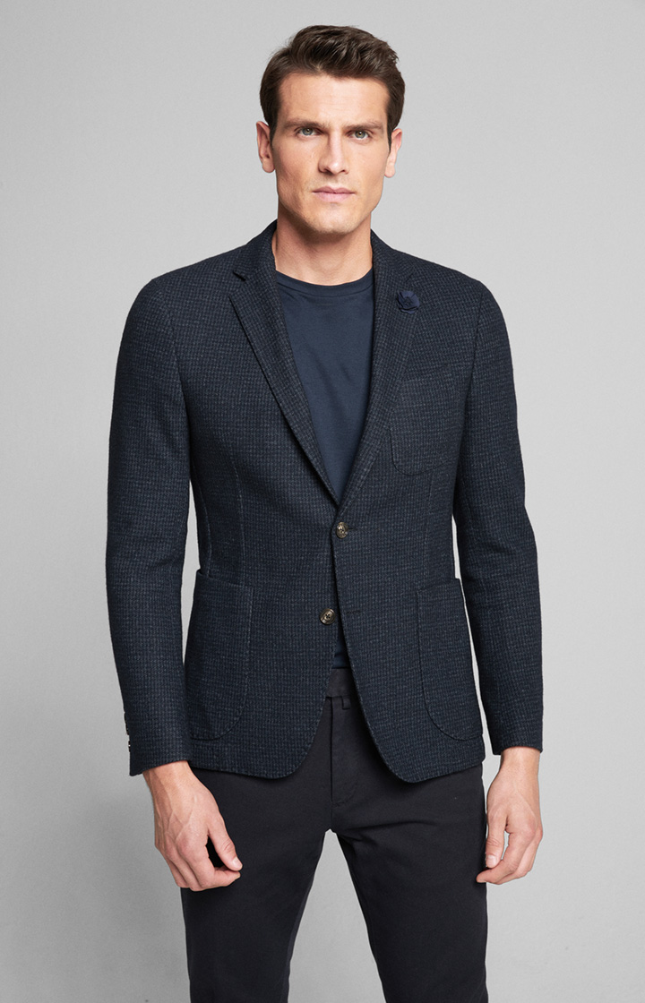Jersey-Sakko Heathrow in Navy gemustert