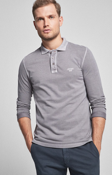 Langarm-Polo-Shirt Ambrosio in Graphit