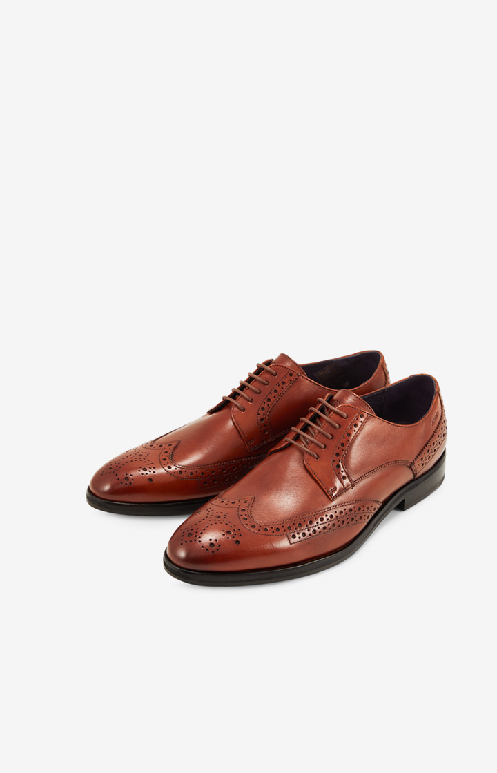 Brogue-Oxford Lace-Up Lusso Kleitos in Dark Cognac