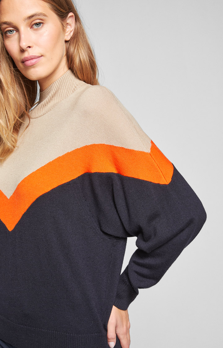 Pullover Kiana in Orange/Creme/Navy
